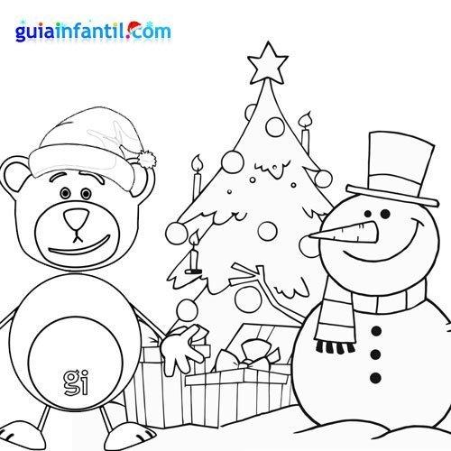 dibujo para colorear de oso traposo y mueco de nieve en navidad