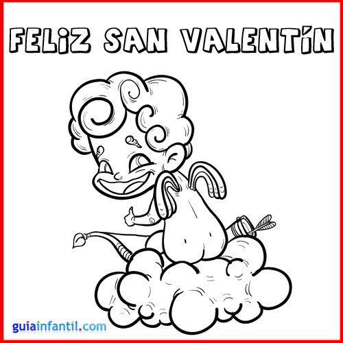 Angelito de San Valentín. Tarjeta para imprimir