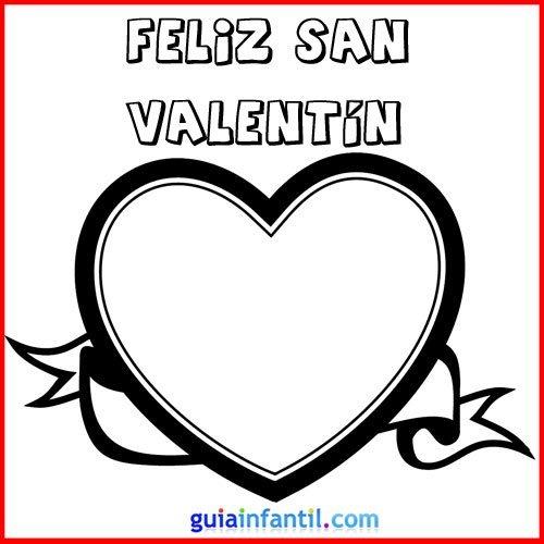 Corazón de San Valentín. Tarjeta para colorear