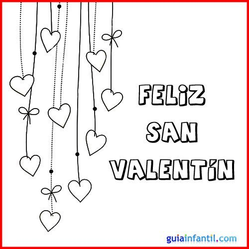 Dibujo de corazones para colorear. Tarjeta de San Valentín ...