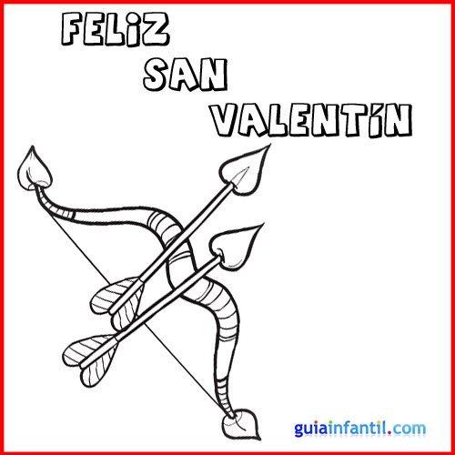 Flechas De San Valentín Tarjeta Con Dibujo Para Colorear