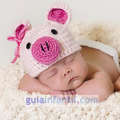 Disfraz de cerdo de punto para bebés