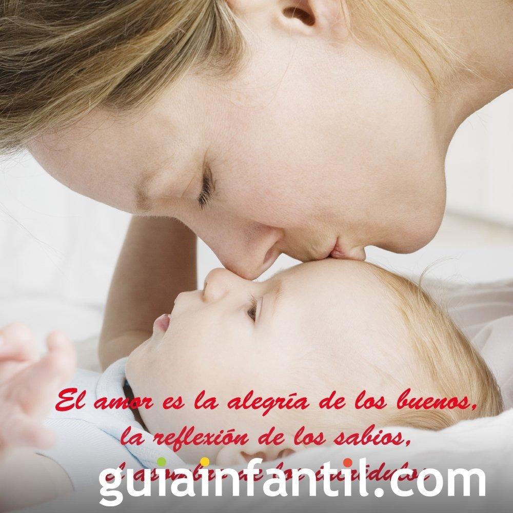 Tarjeta de San Valentín de una madre y su bebé