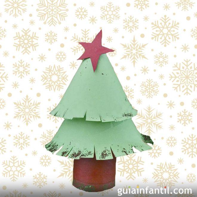 Rbol de navidad con rollo de papel higi nico - Arbol de navidad con papel ...
