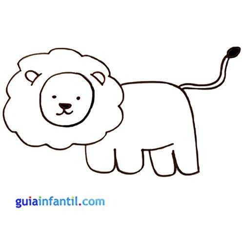 Dibujo de un león para colorear. Animales de la selva para niños