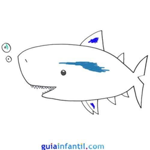 Tiburón para dibujar con niños. Animales marinos para imprimir