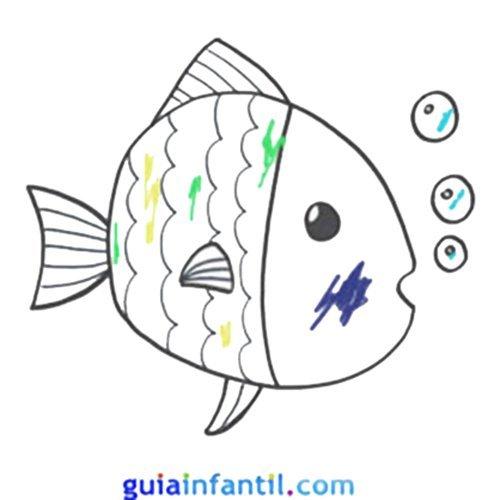 Pez para colorear con niños. Dibujos de animales del mar