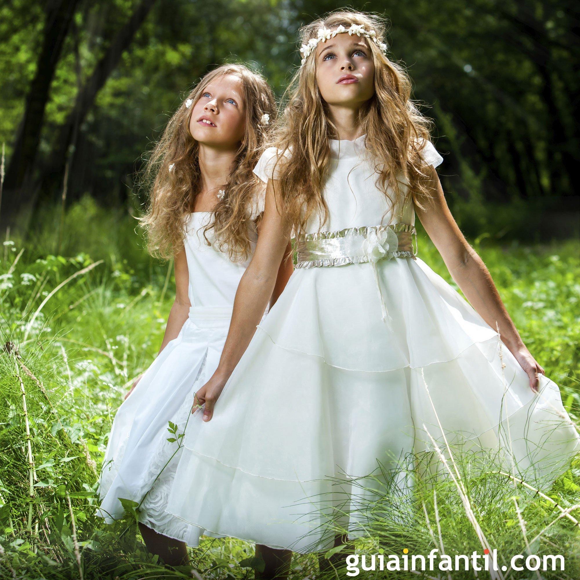 Vestido de comunión para niñas con capas