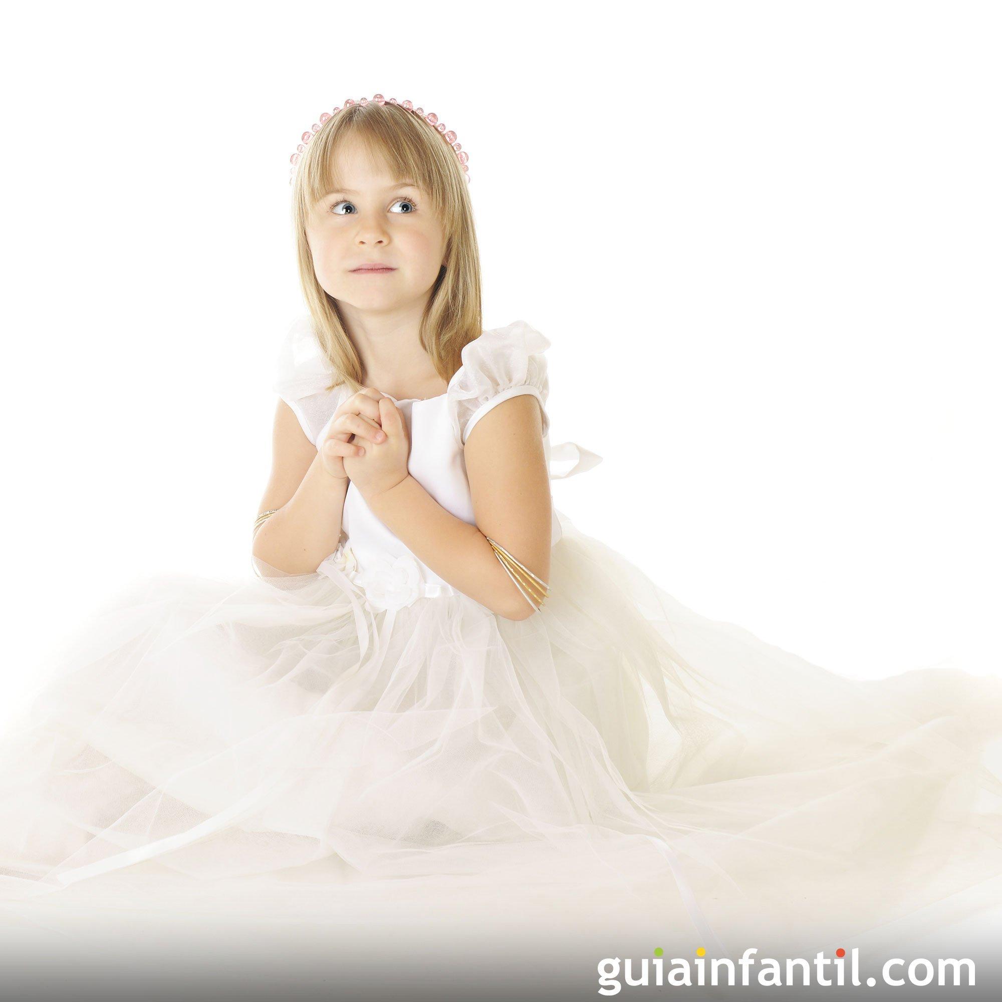 Vestido de comunión de tul para niñas