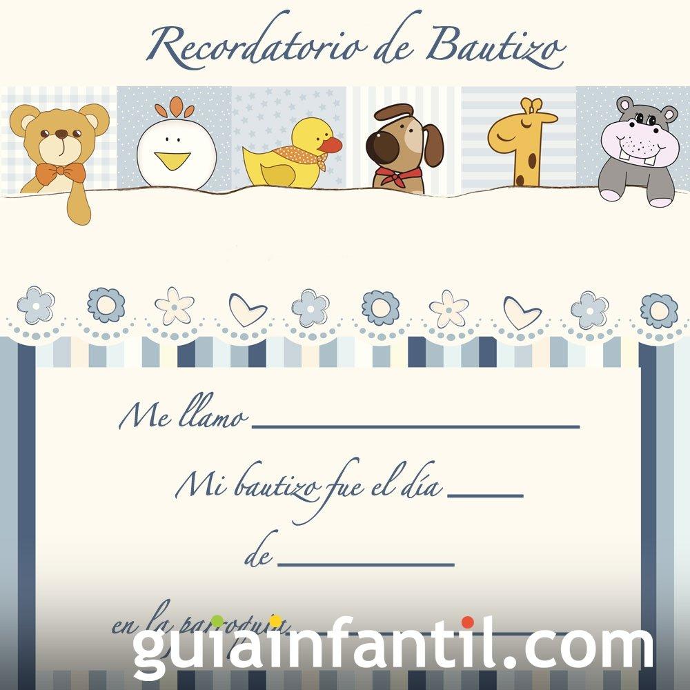 Recordatorio en azul de animales para el Bautizo