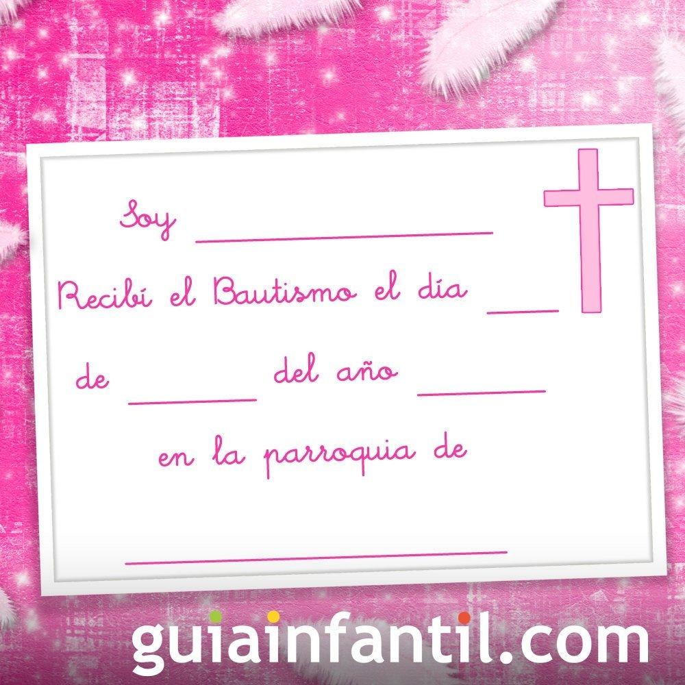 Recordatorio en rosa de niña para el Bautismo