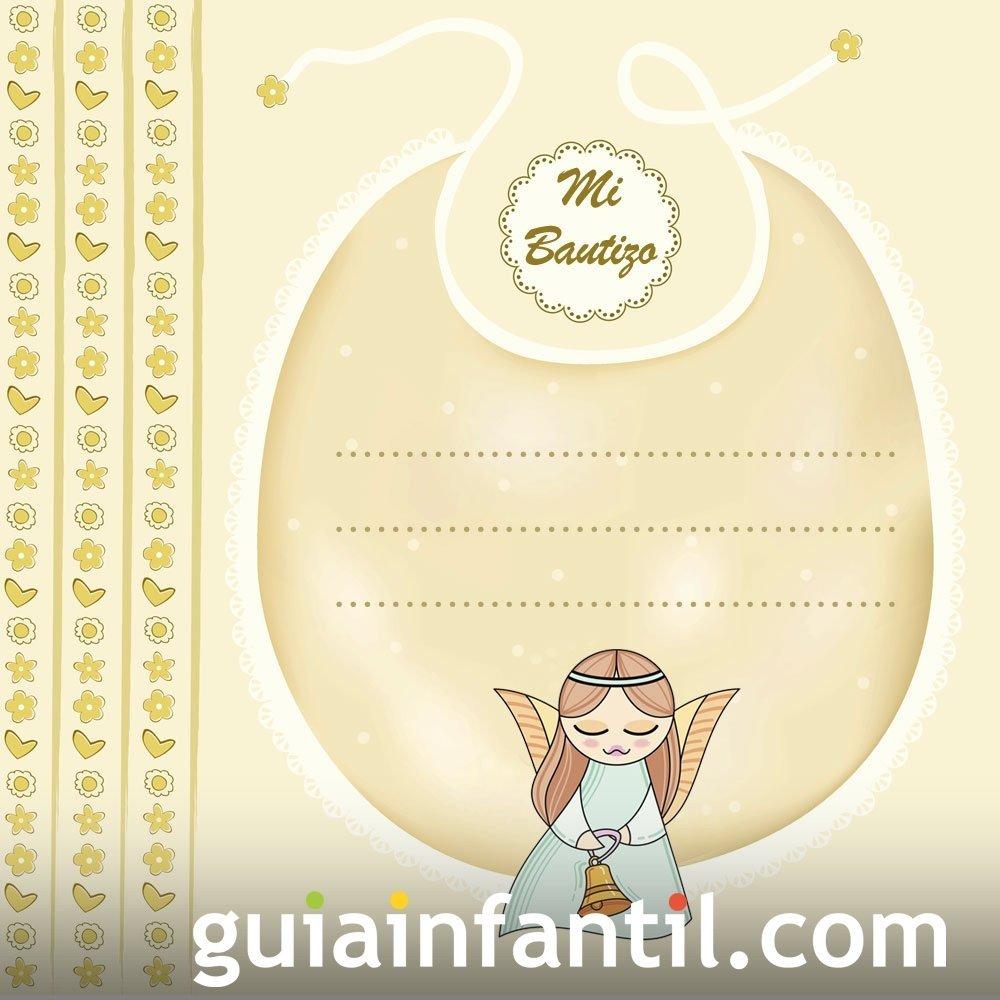 Recordatorio de Bautizo con angelito para el bebé