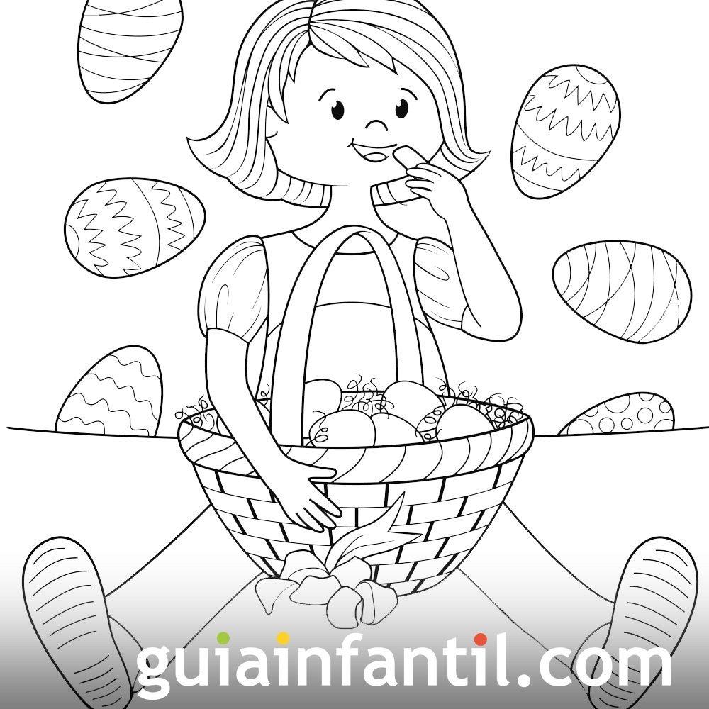 Dibujo De Una Niña Con Una Cesta De Pascua Para Colorear
