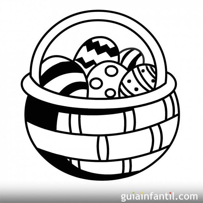 Dibujo de una cesta de huevos de Pascua para colorear
