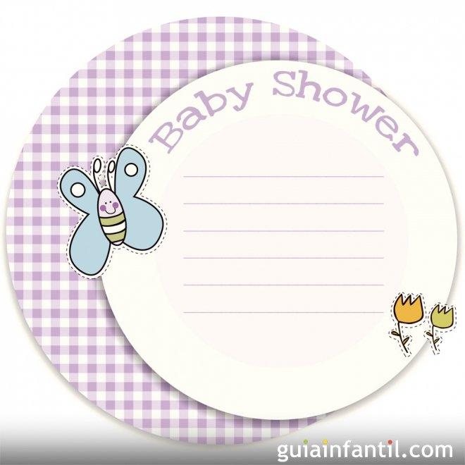 Invitación de niña para Baby Shower con mariposa