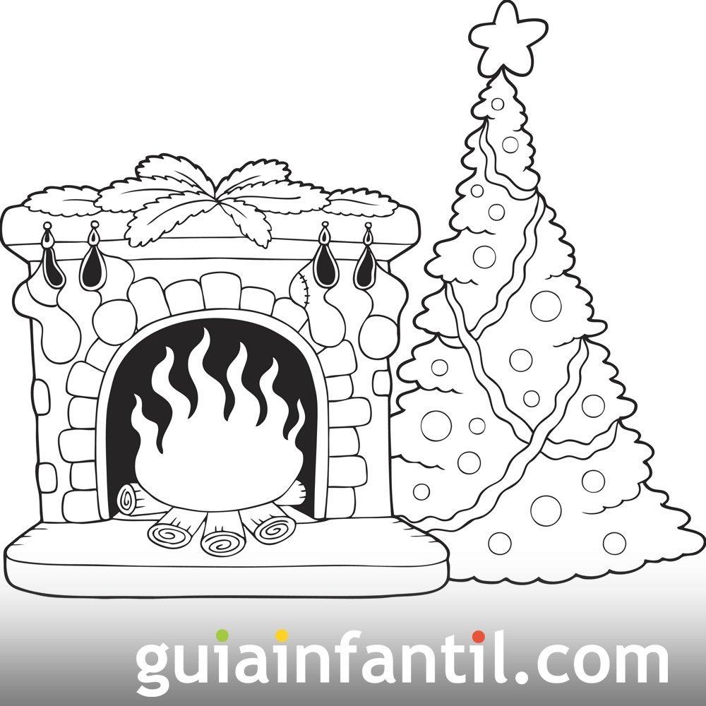 árbol De Navidad Y Chimenea Pinta Y Colorea