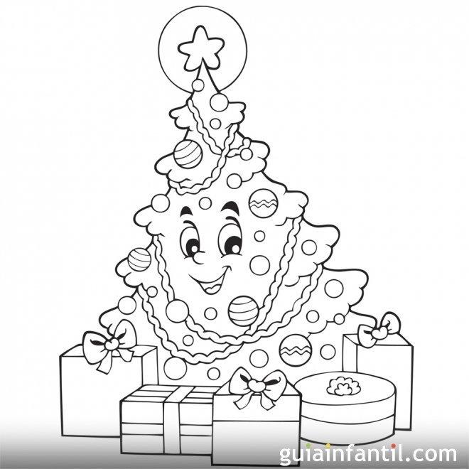 Los regalos junto al árbol de Navidad Dibujo infantil
