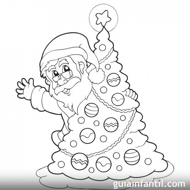 Pap noel escondido tras el rbol dibujos de navidad for Ver figuras de navidad