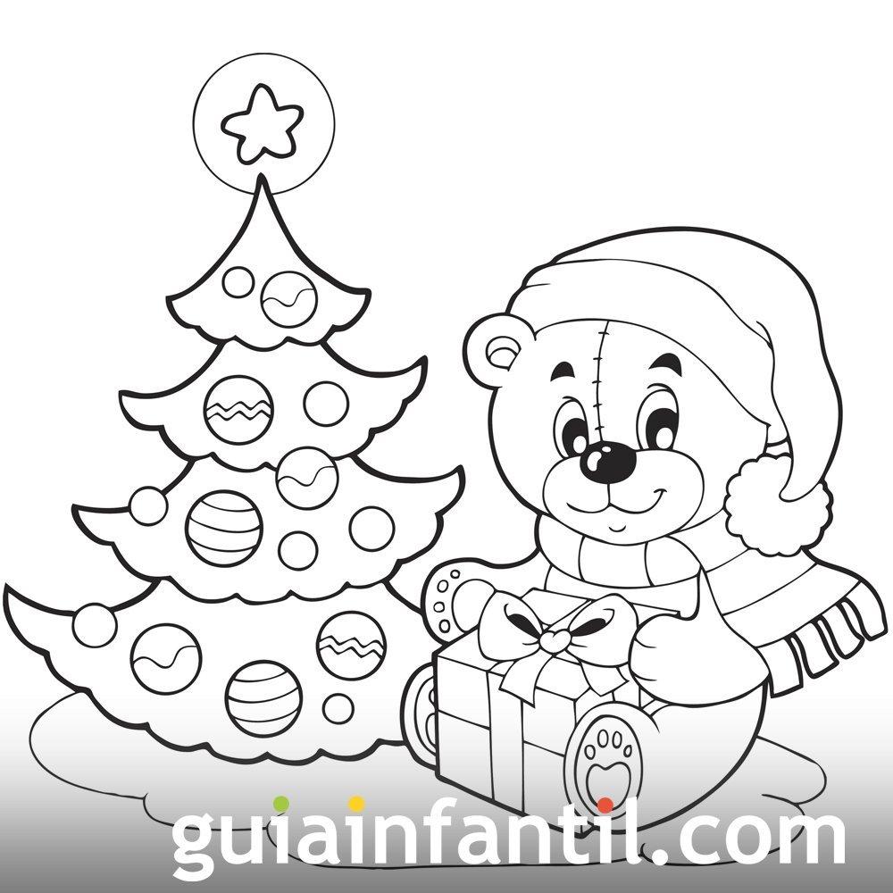 Un Osito Con Su Regalo árbol De Navidad Para Colorear