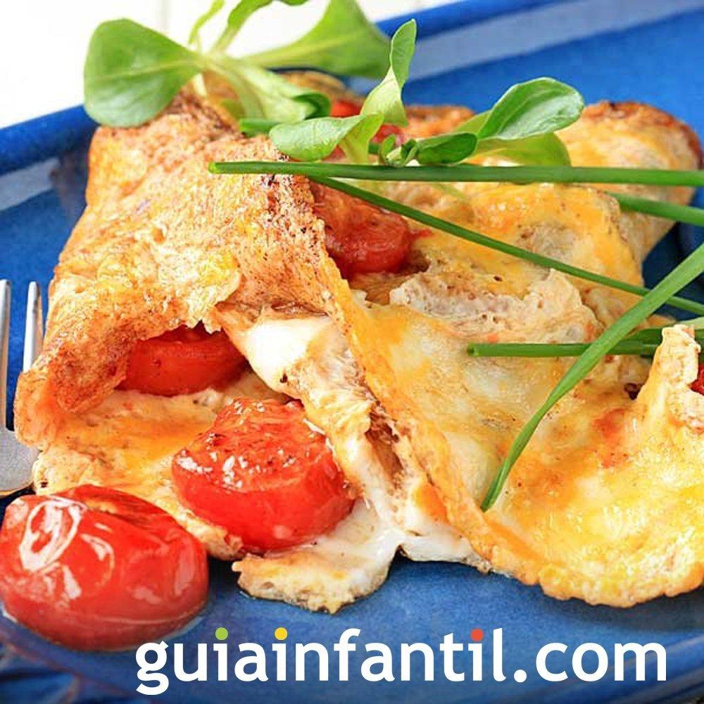 Tortilla sencilla para niños de tomate y queso