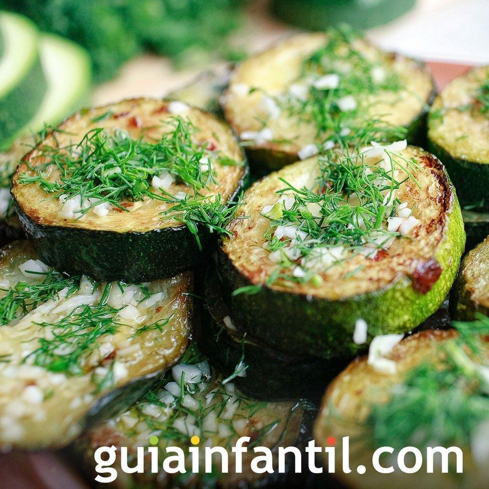 Calabacín a la plancha con cilantro y ajo