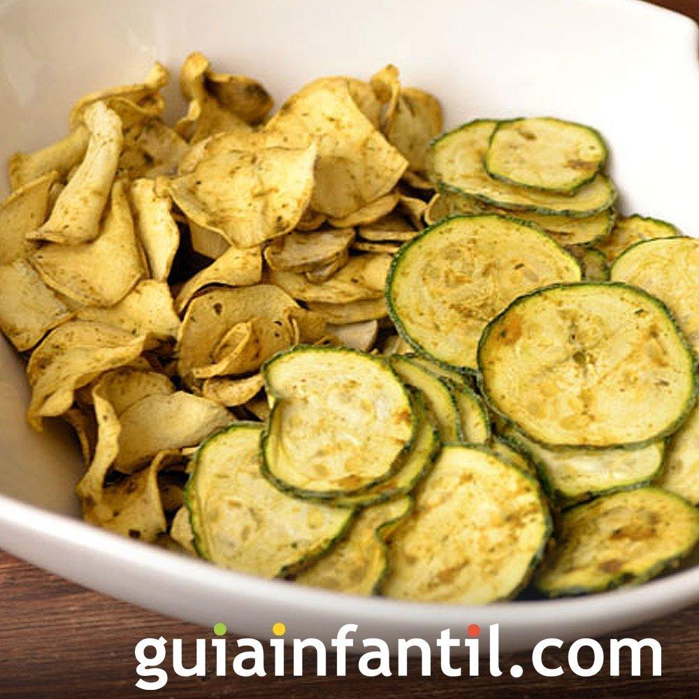 Calabacines y patatas. Chips para niños