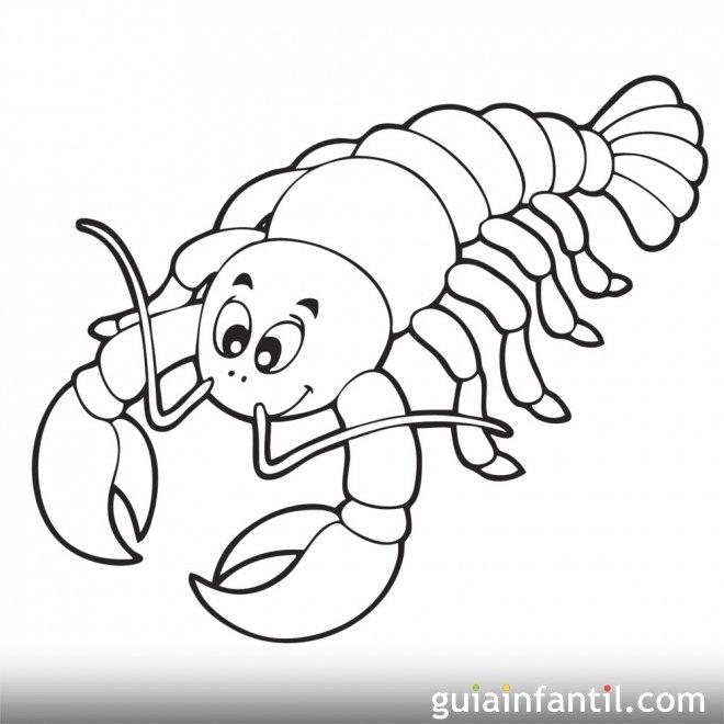Dibujo de una cigala en el mar para colorear  Dibujos de animales