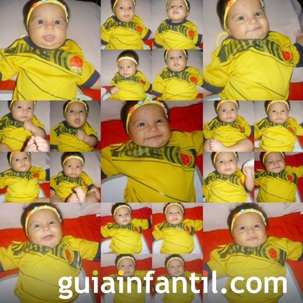 María Sofía, de 6 meses con la camiseta de Colombia