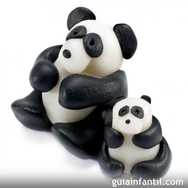 Cómo hacer un oso panda de plastilina