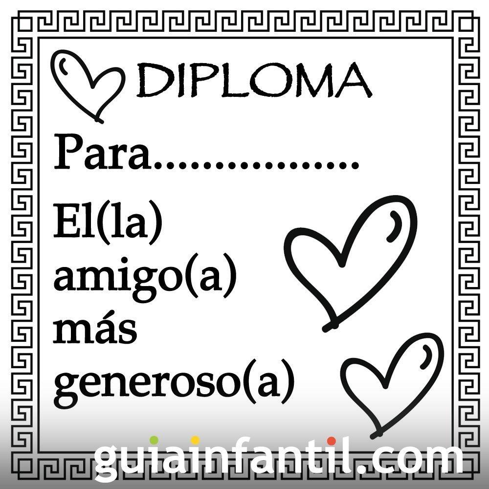 Diploma para el amigo más generoso