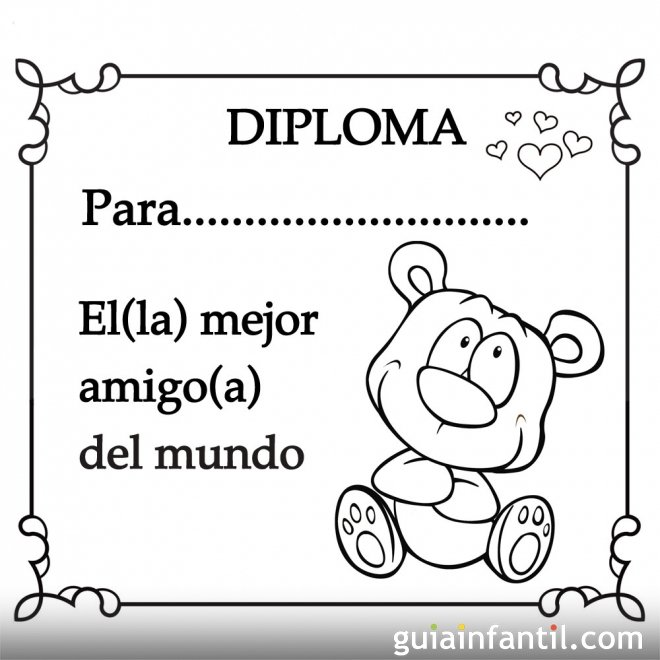 Diploma para el mejor amigo del mundo