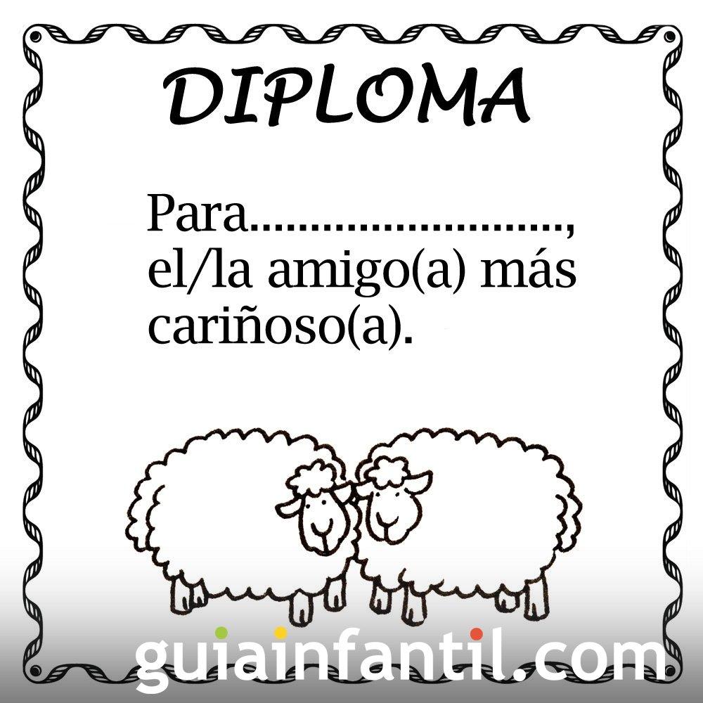 Diploma para el amigo más cariñoso