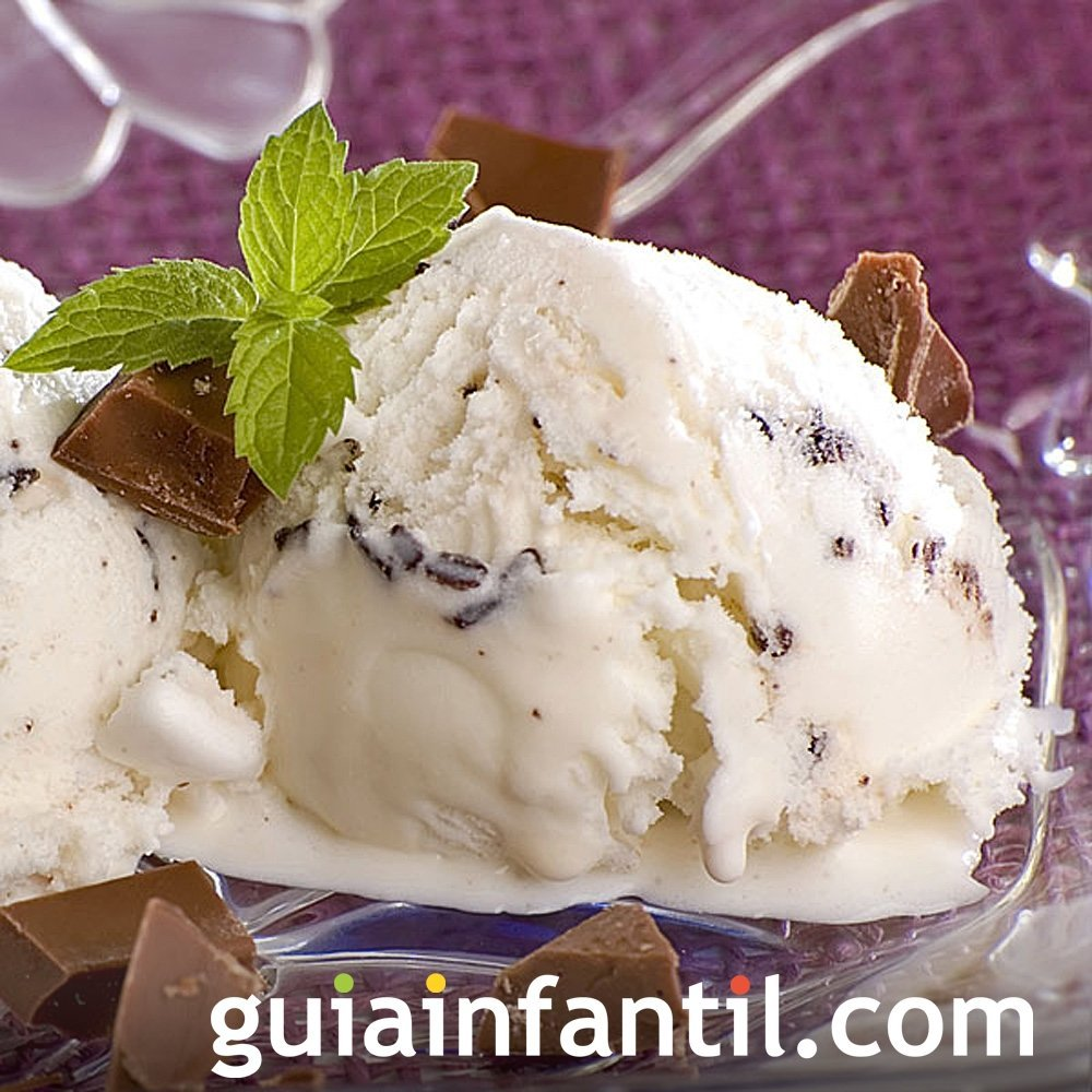 Receta de helado de stracciatella para niños