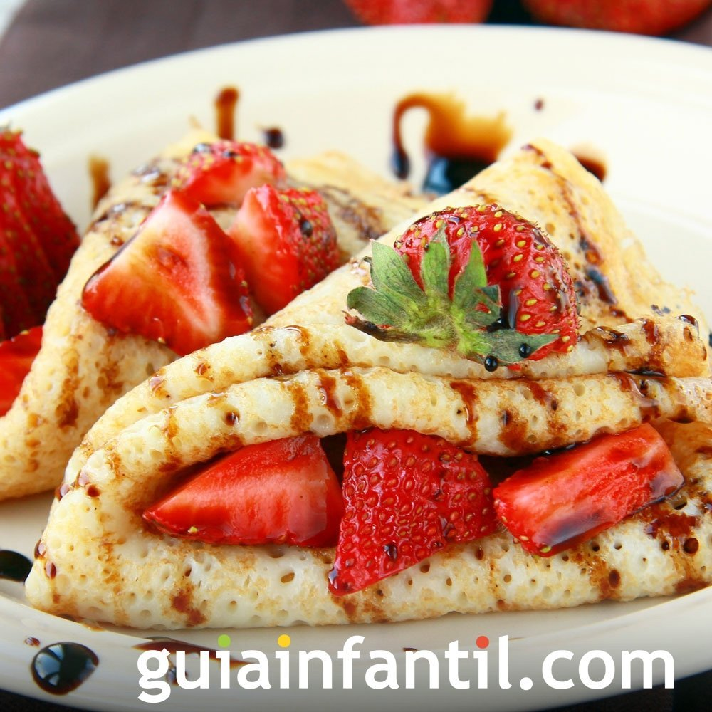 Crepes con chocolate y fruta. Receta francesa