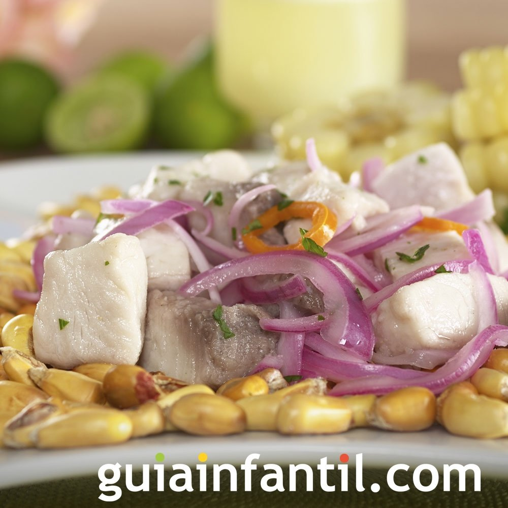 Ceviche de pescado para niños. Receta de Perú
