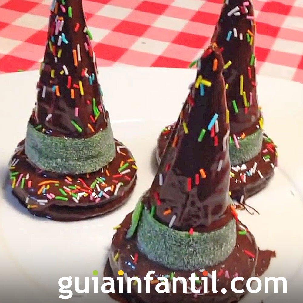 Receta de sombreros de bruja de chocolate