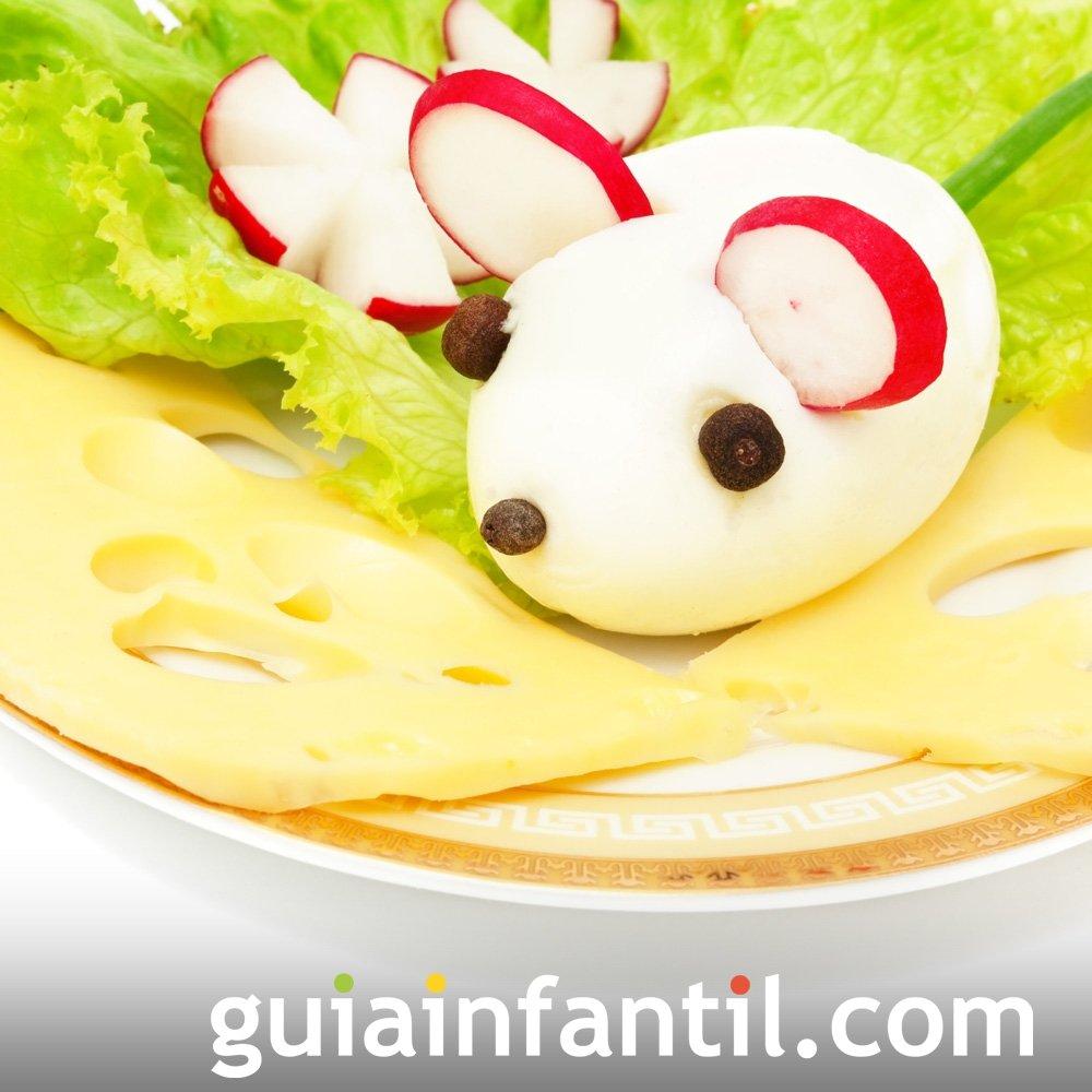 Ensalada con ratones de huevo para niños