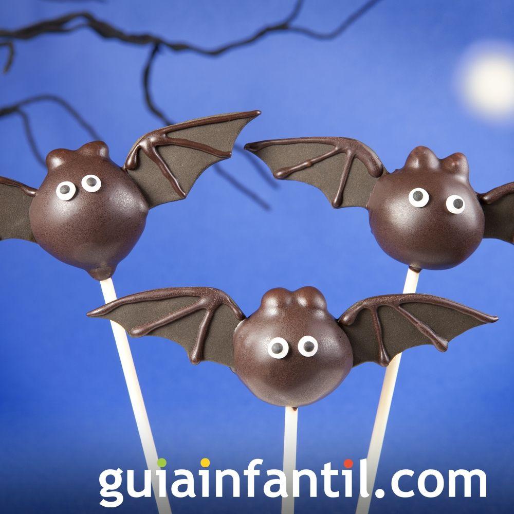 Cake pops para Halloween de murciélagos