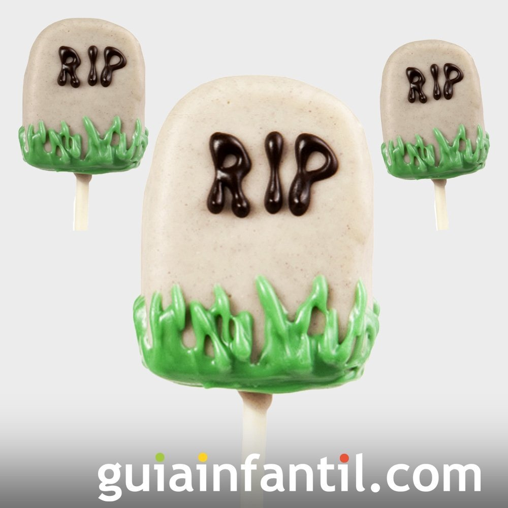 Cake pops de tumbas para la fiesta de Halloween