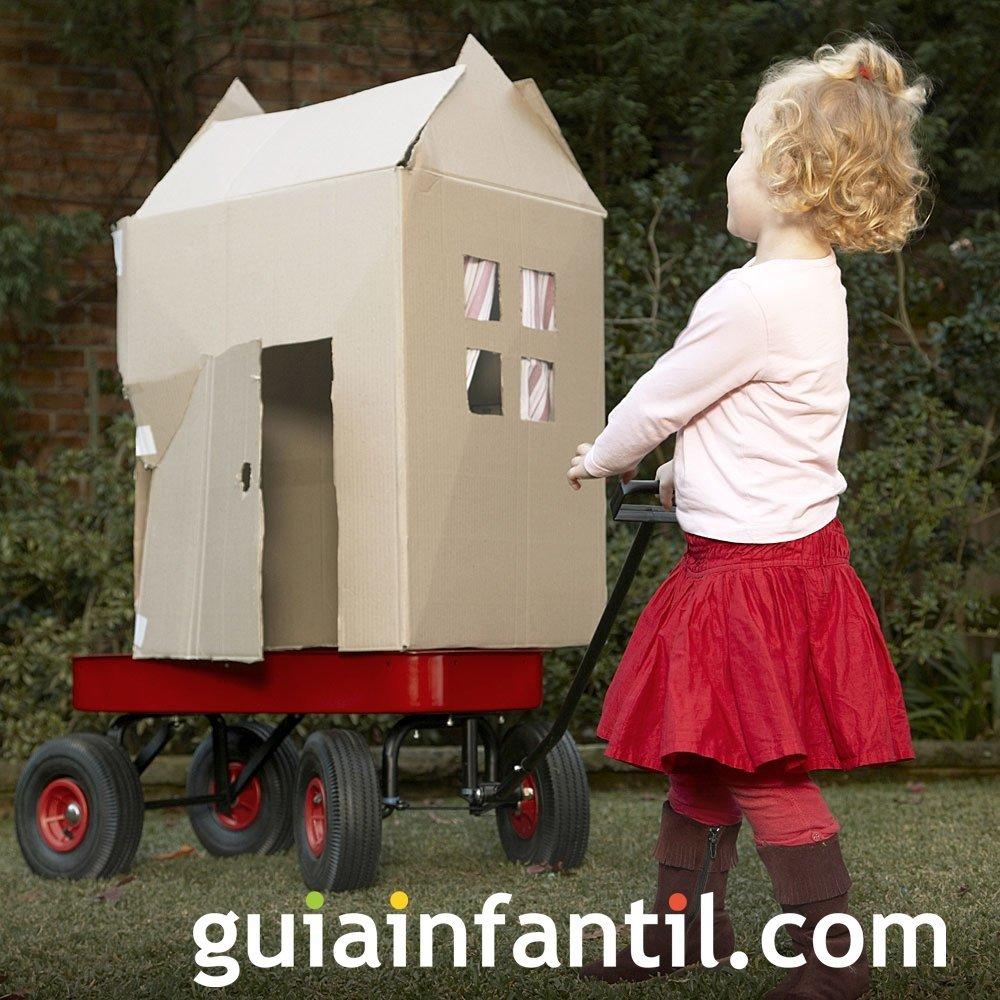 Casa de cartón portátil para los niños