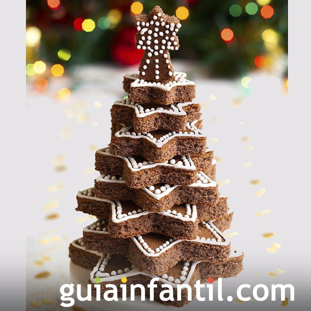 Árbol de Navidad con bizcocho de chocolate
