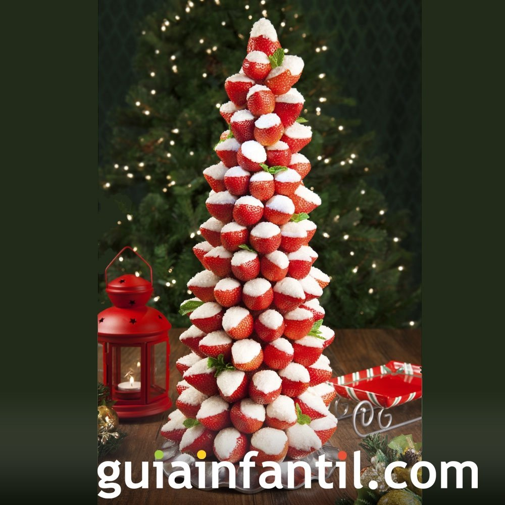 Árbol de Navidad con fresas para niños
