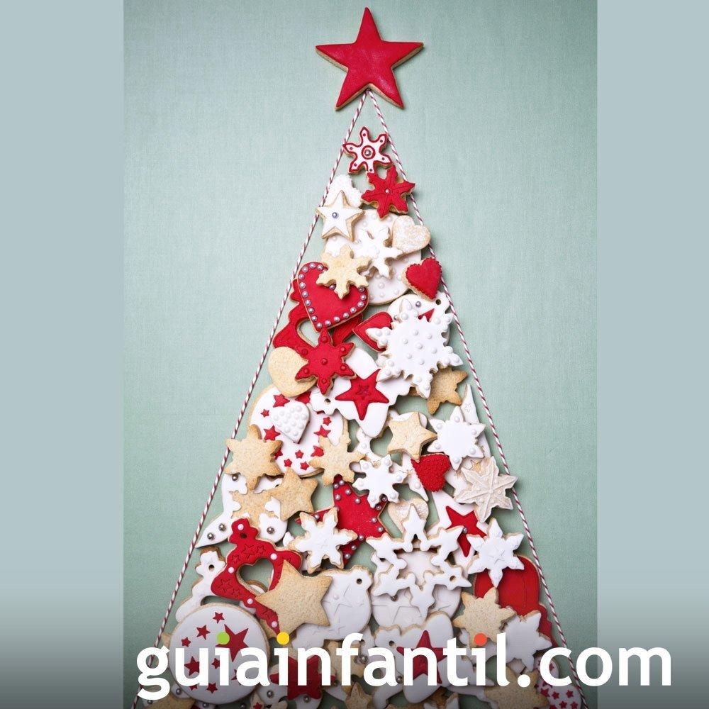 Árbol de Navidad con galletas decoradas para niños