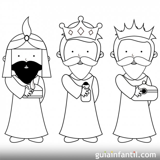 Dibujo sencillo de los Reyes Magos para pintar - Dibujos ...