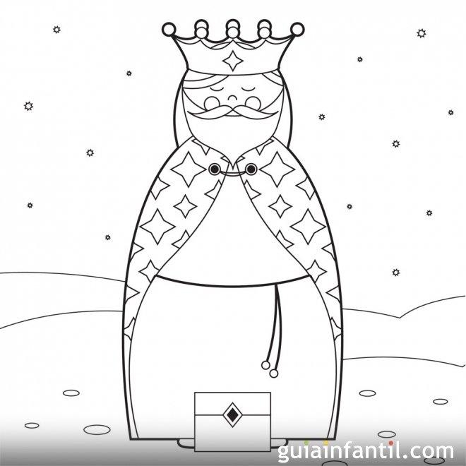 Dibujo del Rey Mago Gaspar para imprimir y pintar