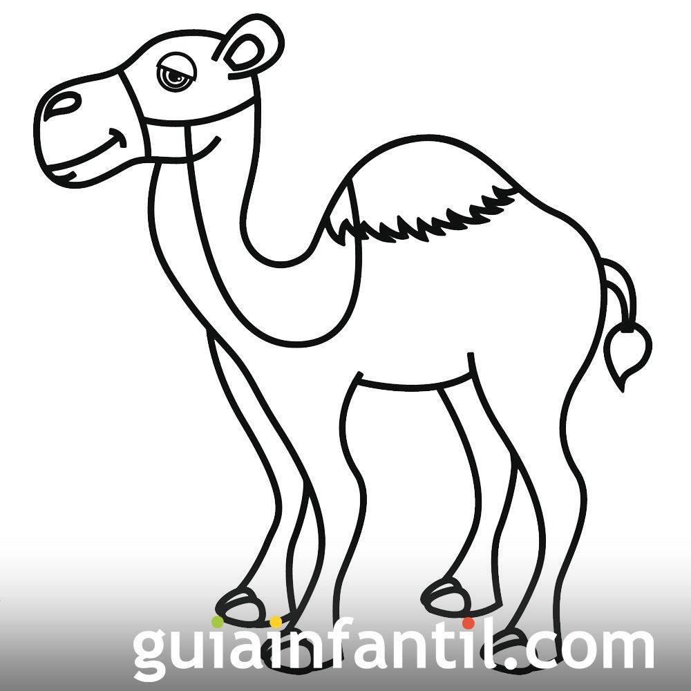 Dibujo de un camello para colorear en Navidad