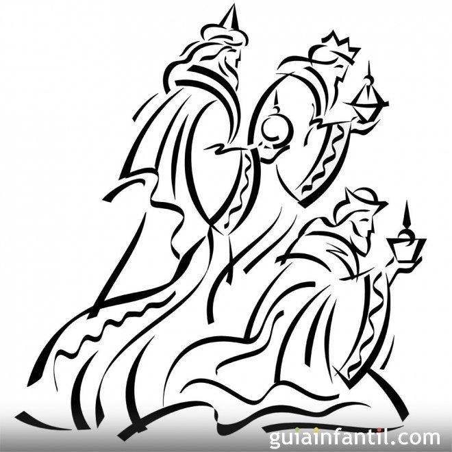 Dibujo de los reyes magos en el portal de bel n dibujos - Dibujos del portal de belen para colorear ...