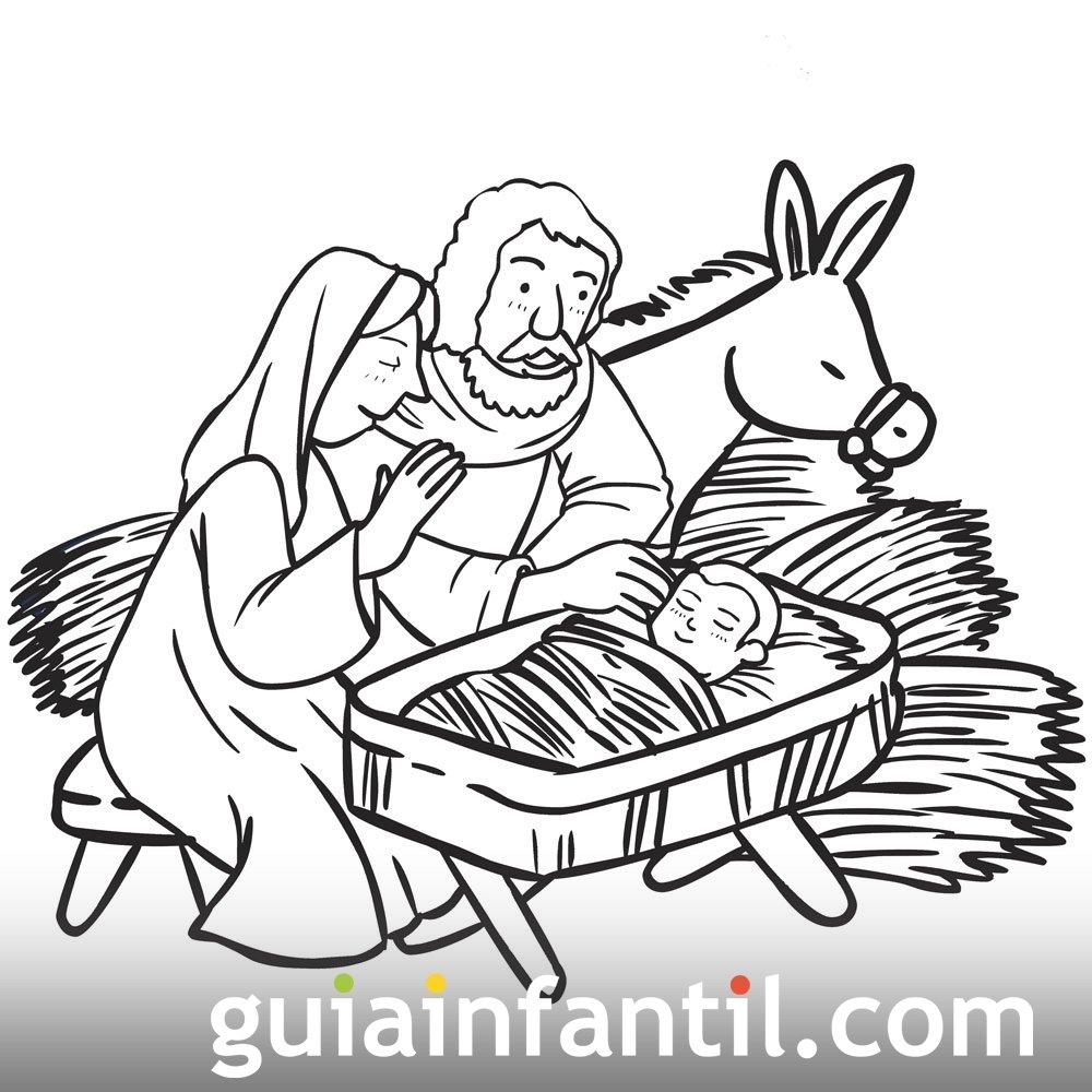 Dibujo De María Y José Rezando Con Al Niño Jesús