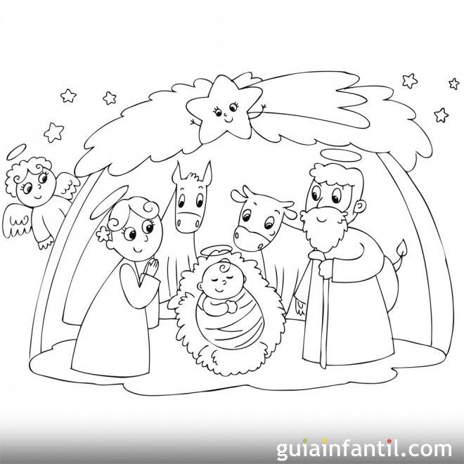 Personajes del Portal de Belén. Dibujo para colroear