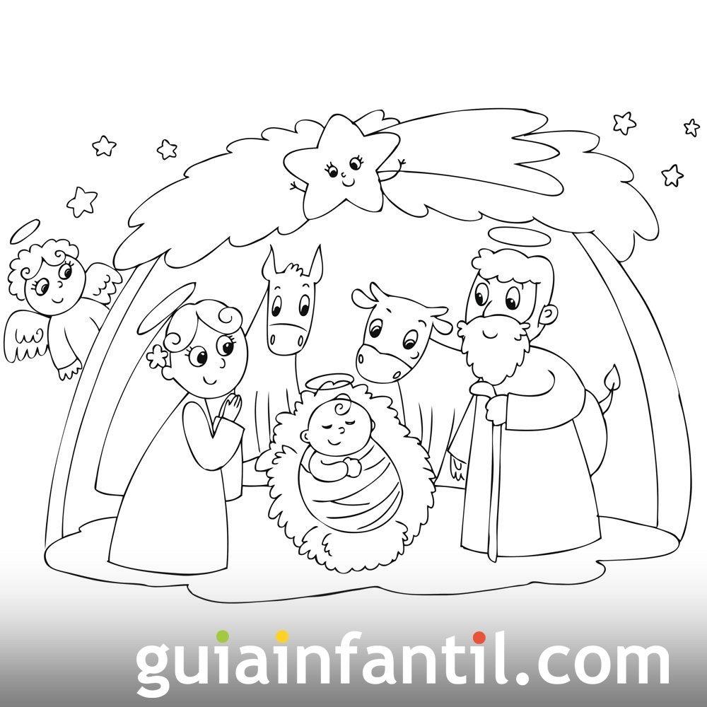 Personajes Del Portal De Belén Dibujo Para Colroear
